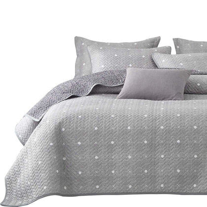 Uozzi Bedding 3 Piece Reversible Quilt Set Queen Size 92X90 Soft Microfiber Lightweight Coverlet Bedspread Summer Comforter Set Bed Cover Blanket For All Season Gray Dots & Cross (1 Quilt+ 2 Shams)