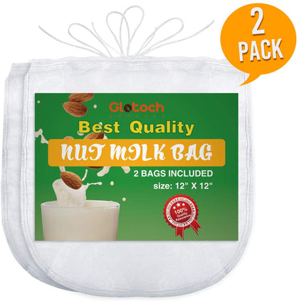 "Glotoch Best Nut Milk Bag,12""X12"" Fine Mesh Commercial Grade Reusable,All Purpose Food Strainer- Nutmilk, Juicing, Coffees - Ultra Fine Mesh Nylon Cheese Cloth - Food Grade Bpa-Free"