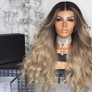 Gradual champagne color long lace wig
