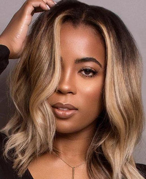 Gradient gold short front lace wig