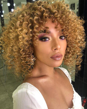 14''Gradient golden curly Brazilian wig