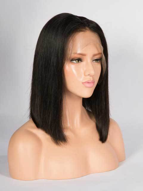 Short to mediun length black lace front wig