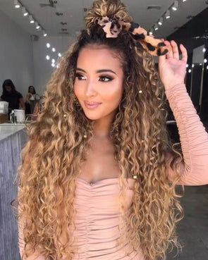 24''Gradient golden curly Brazilian wig