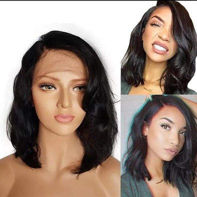 Wavy Short Bob 13x4 Lace Front Human Hair Wigs 150% Density Pre Plucked