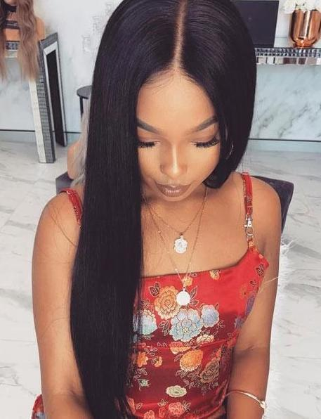 "24"" Brazilian black straight hair front lace wigs"