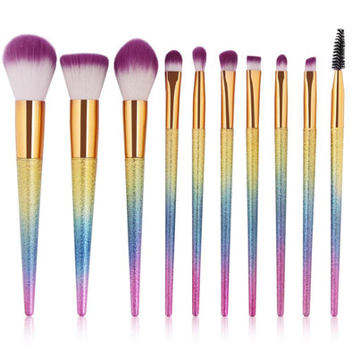 Glitter Rainbow Makeup Brush Set