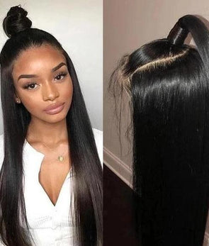 "24"" Brazilian straight hair front lace wig"