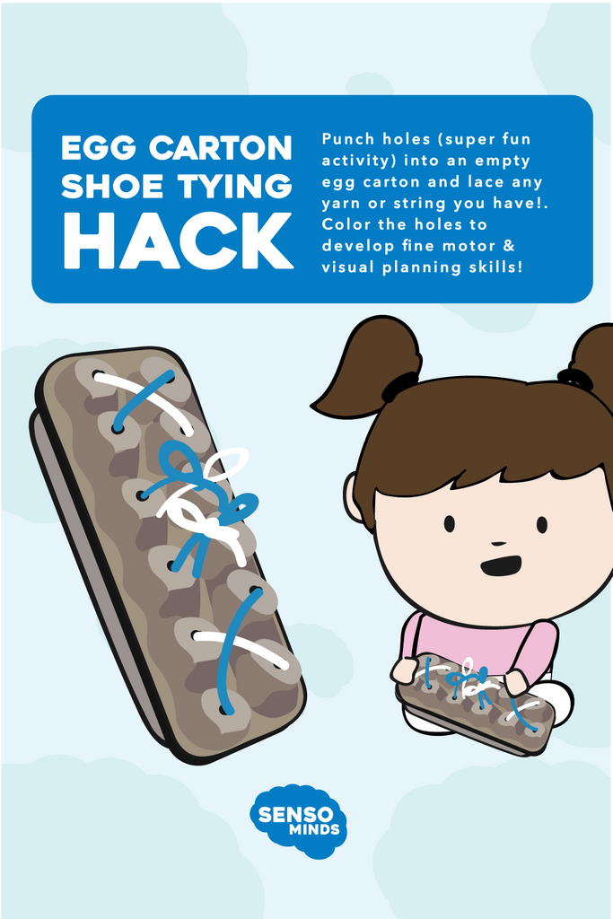Sensory Activities - Egg Carton Shoe Tying