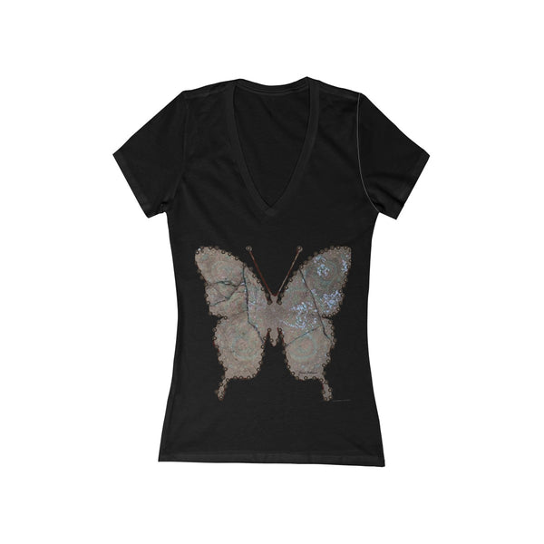 Deep V-Neck Fashion Tee butterfly graphic t shirt