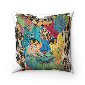 Spun Polyester Square Pillow Cat painting
