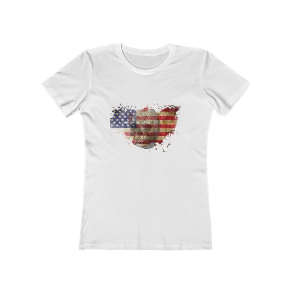 Crew neck t shirt american flag eagle
