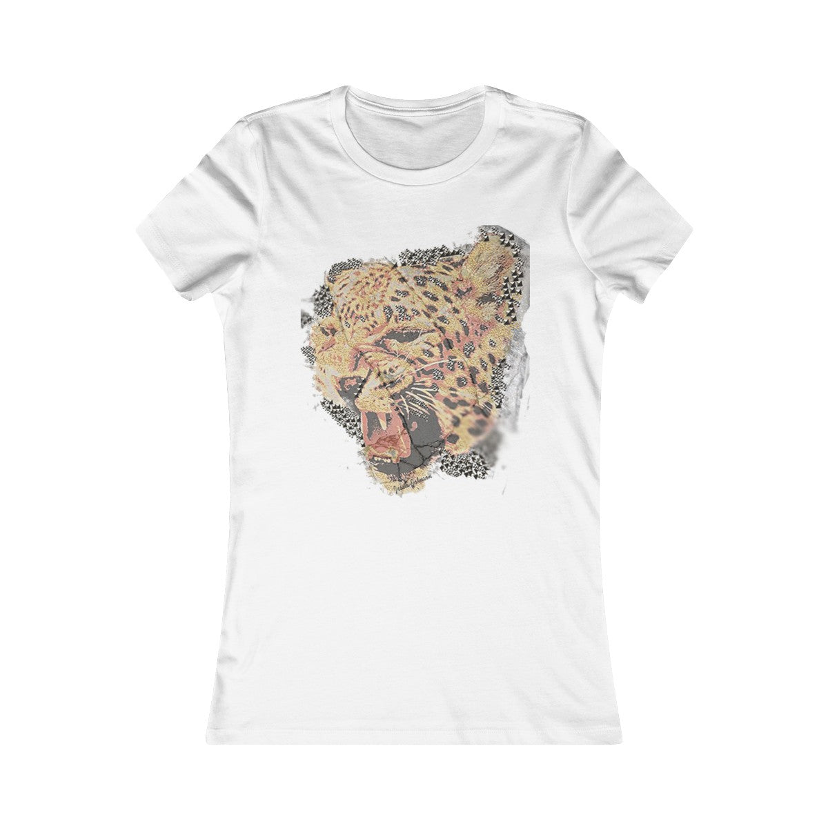 Crew neck Fashion vintage tiger print Plus size t shirt Women's