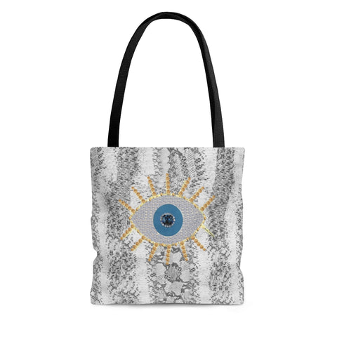 Tote Bag snake print evil eye protection