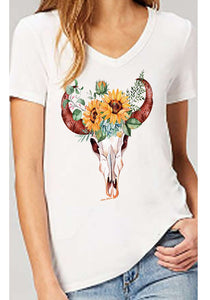 Deep v neck Tee Women's Short Sleeve Tee Boho Westerns bohemian