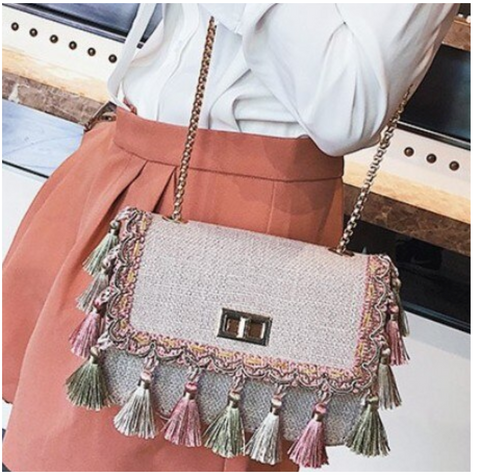 Boho fashion Fringe  Bag High Quality Women mini chaine