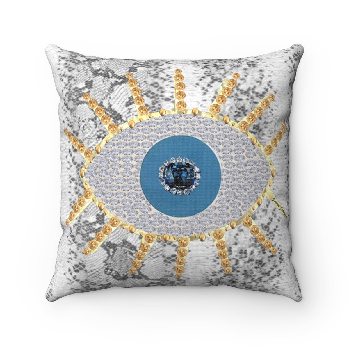 Spun Polyester Square Pillow Evil eye