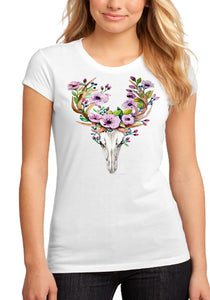 Crew neck Boho Hippie Bull decorated bohemian Women's t shirt Plus size