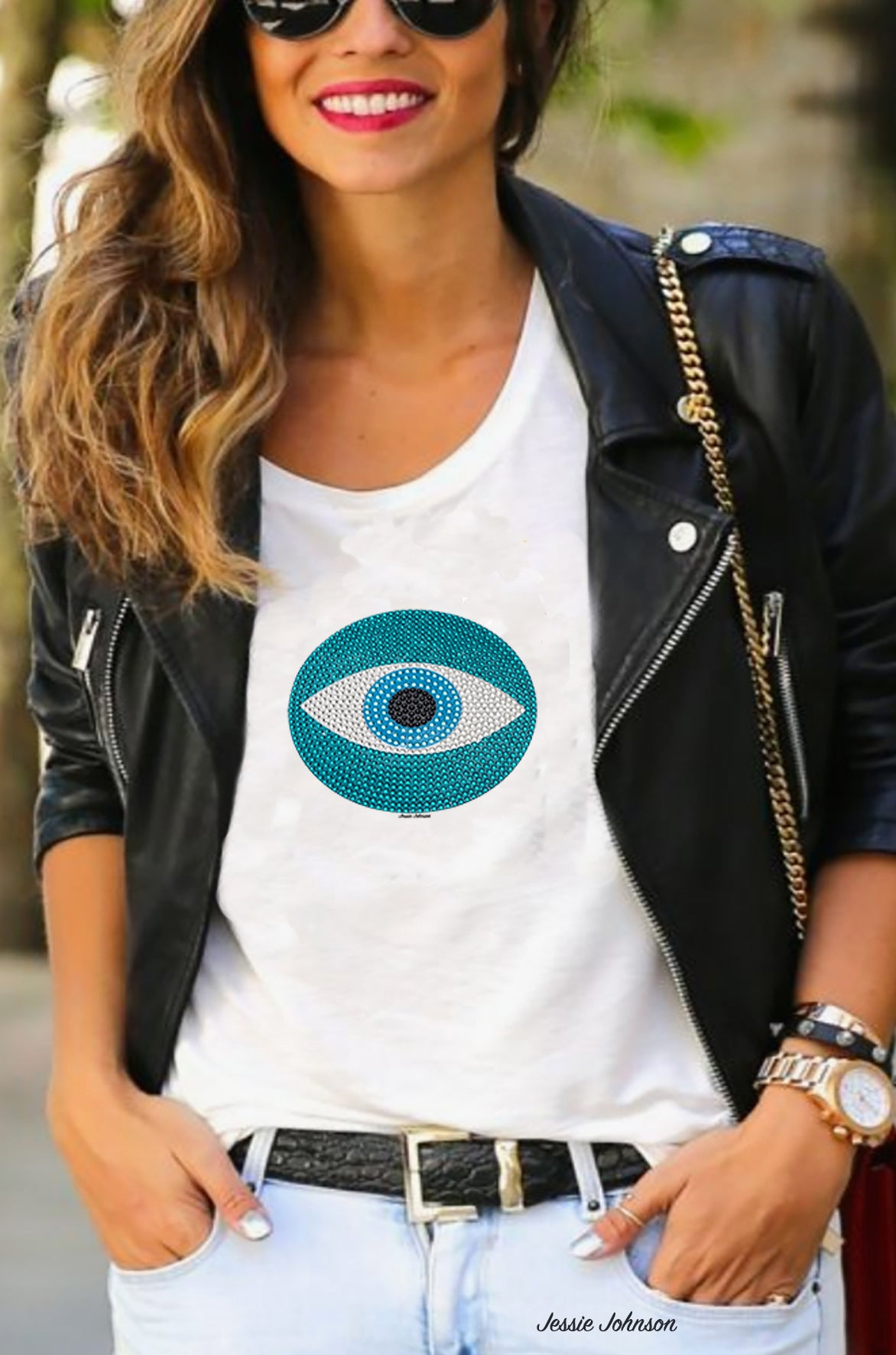 Loose fit Evil eye Protection Artwork graphic print - Eye of god Short  Sleeve T-shirt- Gift tees print