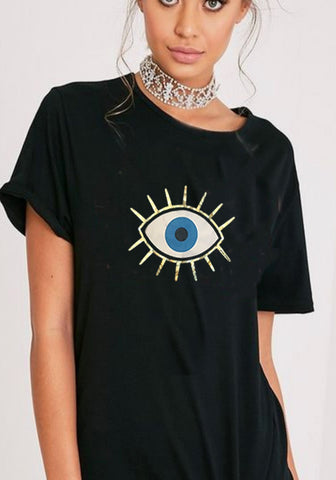 Loose fit tee evil eye protection t shirt graphic Boho Hippie Yoga Women's tees black