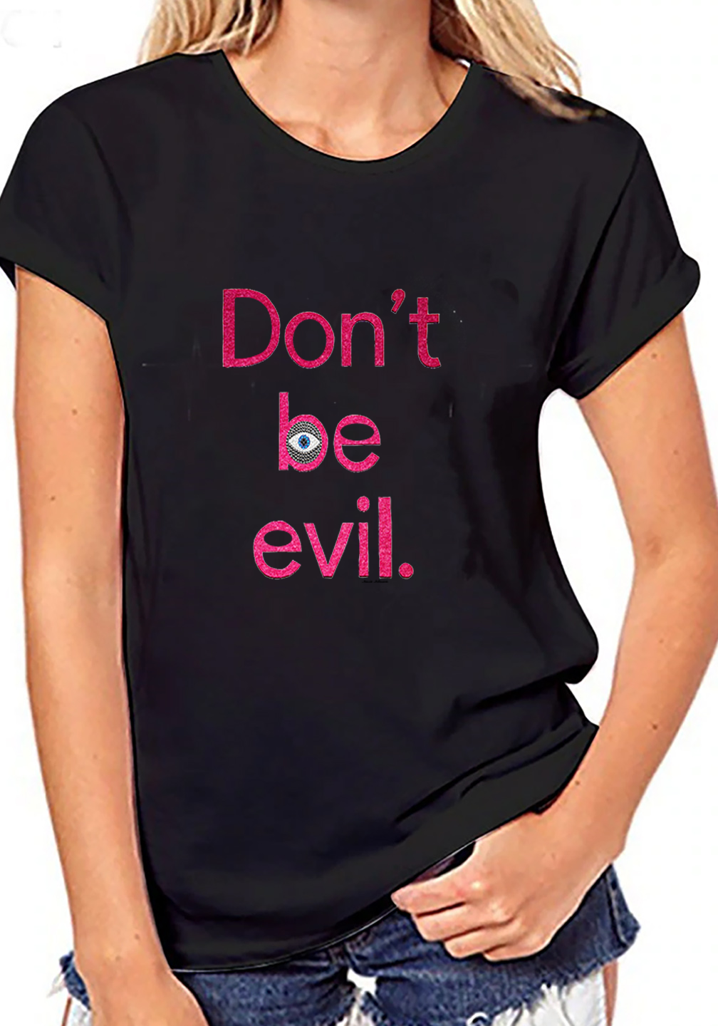 Crew neck graphic t shirt Don t be evil tees
