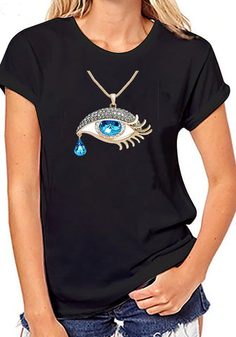 Crew neck black evil eye protection graphic Plus size T shirts evil eye Tees