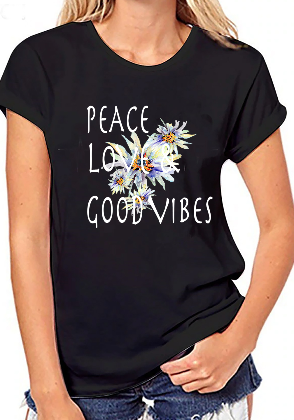 Crew neck black graphic women t shirt Peace Love & good vibes graphic Plus size tees