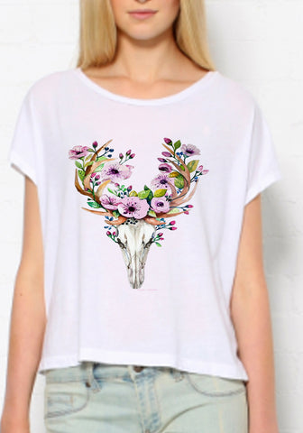 Loose fit Women's boho t shirt Decorated bull printed graphic Bohemian clothing Western