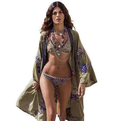 Boho  Inspiration Kimono Kaftan Long dress summer beach Cover up with embroidery