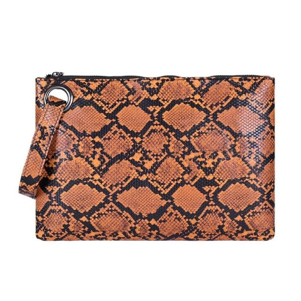 Female Fashion Square Snake Print Wristlet Clutch