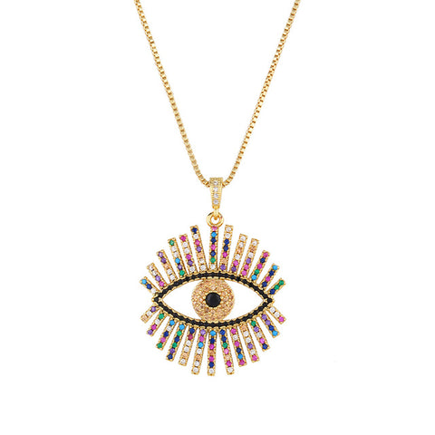 Gold Filled Greek Eye Necklace For Woman Zirconia Evil Eye