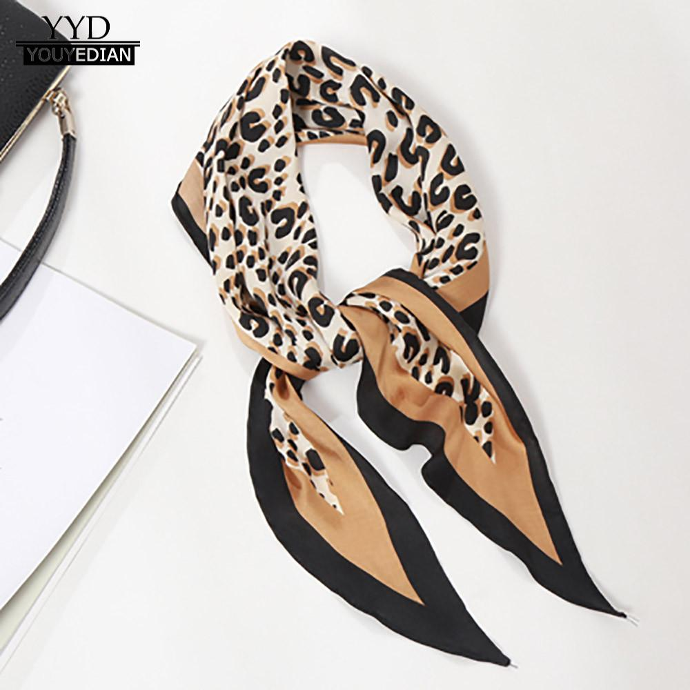 Scarves Fashion Women Twill Satin Diamond Wrist Soft Silk Leopard Scarf Fashion Design foulard femme