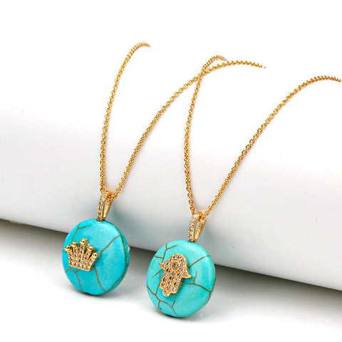 Natural Stone  Green Turquoises Hamsa Evil Eye Charms Necklaces Pendants For Women Jewelry
