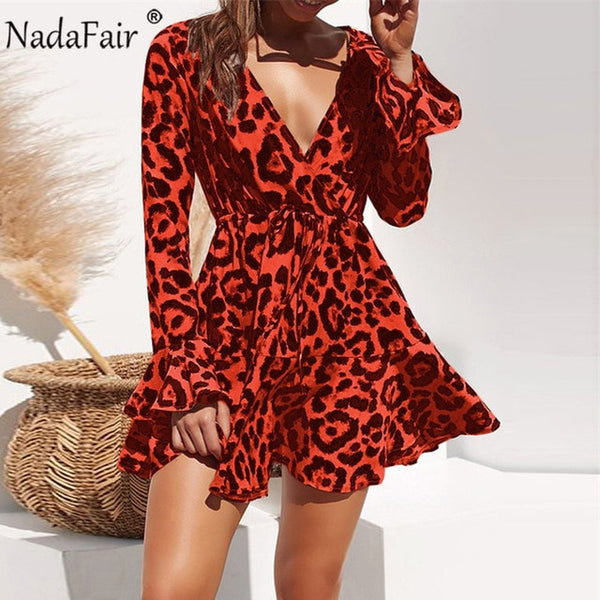 Wrap Mini Plus Size Women Leopard Dress