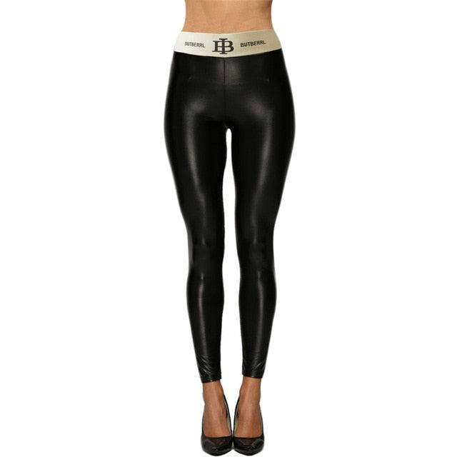 Pants Women Imitation Leather Pants High Quality Lace-up Buttocks Slim Skinny Long Pants Fitness Sport Trousers Joggers Women