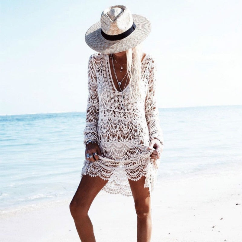 Beach Dress  White Lace Beach Mini Bohemian Tunique