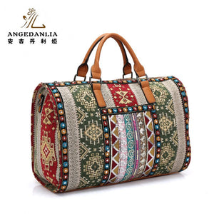 Handbag Bohemian Boho hippie bucket travel bag flower pattern