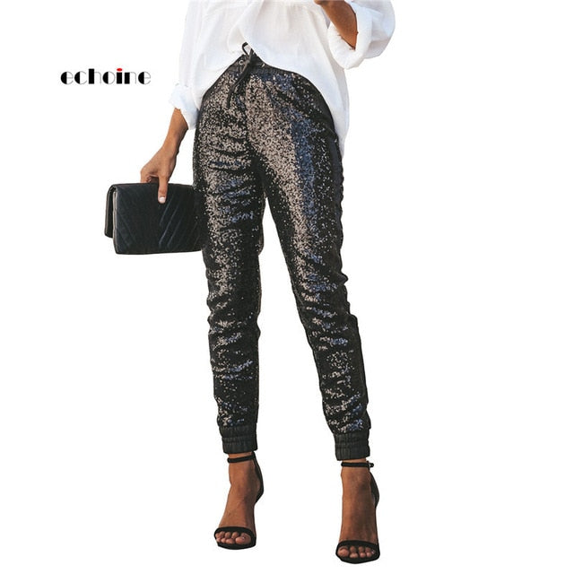 Women Fashion Sequin Long Pencil Pants Elastic PU Leather High Waist Drawstring
