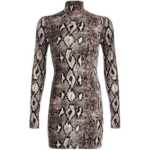 Women's Animal Snake Skin Print Bodycon Tunic Dress Stretch High Neck Mini Dress