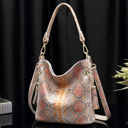 Leather Woman Snake Skin Hand Bags Shoulder Handbags Genuine Leather