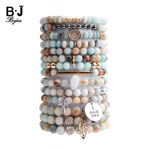 Natural Amazonite Stone Bracelet For Women Gold Leaf Tube Cubic Zircon Evil Eye Silver Cross Medal Charm Bracelet