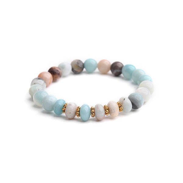Natural Amazonite Stone Bracelet For Women Gold Leaf