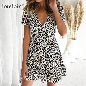 Dress Racer back Mini Short Sleeve Leopard