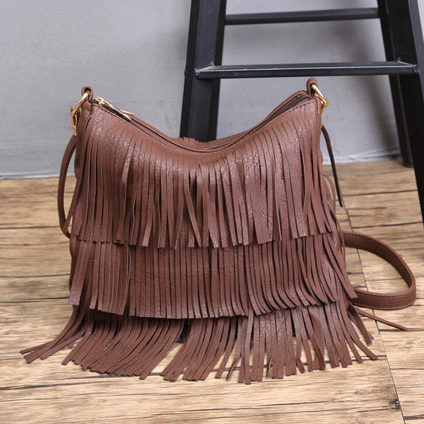 Fashion Hippie Fringe Tassel Small Women Vegan leather