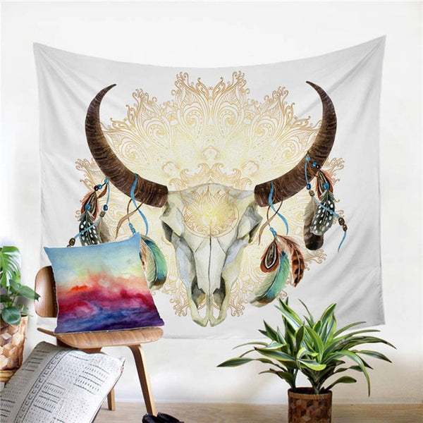 Boho Bedding Skull Feather Tapestry Hippie Watercolor