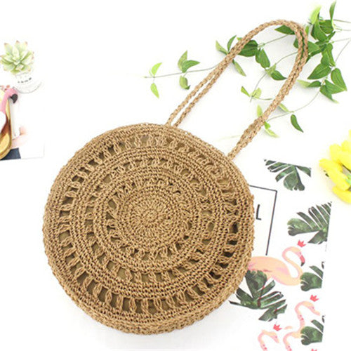Boho Round Straw Bag Beach Tote Bags For Women