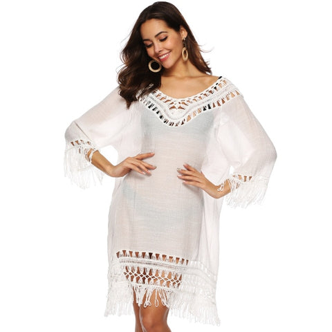 Beach Dress Tassel V Neck White Cover Up Swimsuit Bikini