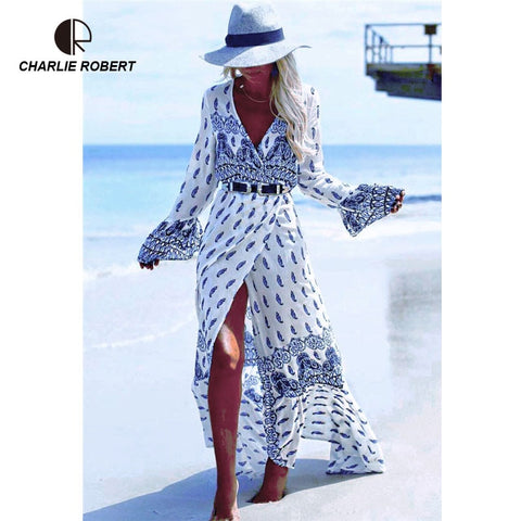 New Summer Long Dress Sexy Bandage Beach Dress Printed Bohemian Elegent Vestido Plus Size Maxi Dresses For Women