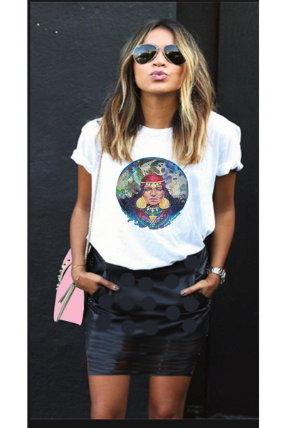 Crew neck t shirt Boho hippie Tee gypsy women