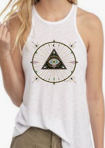 Racer Back Tank -evil eye Protection Artwork graphic print - Eye of god Tank Top - Gift tank graphic print Top