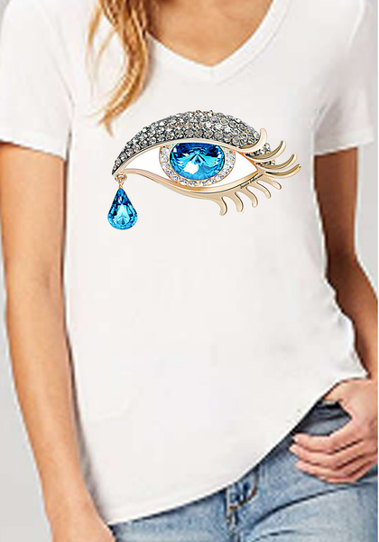 Deep V-Neck Tee Women's Jersey Short Sleeve DeepTee evil eye protection graphic Plus size